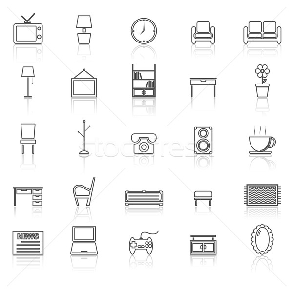Living room line icons with reflect on white Stock photo © punsayaporn