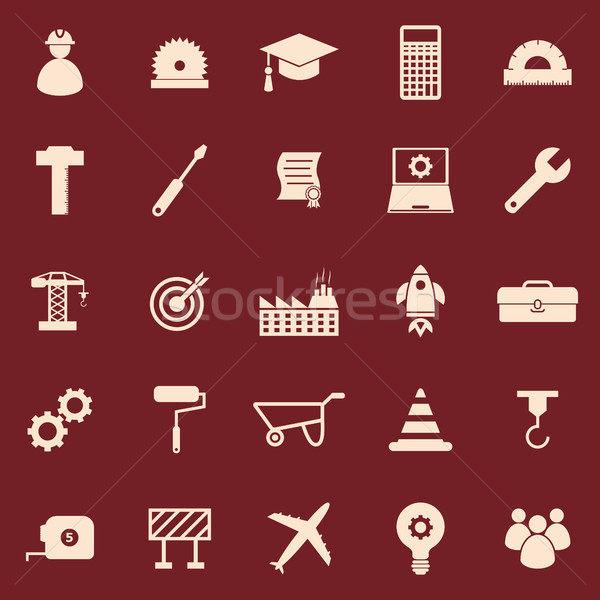 Engineering color icons on red background Stock photo © punsayaporn