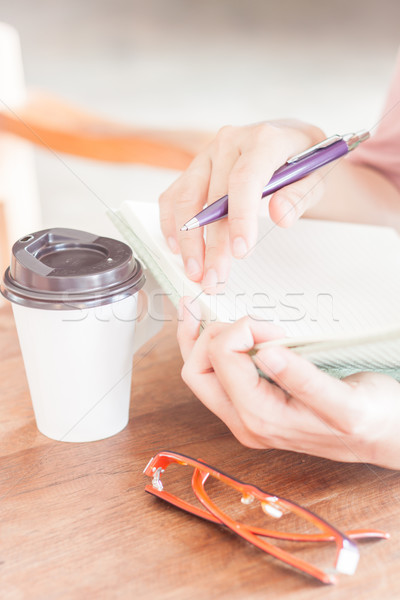 Stock photo: Writing time in coffee shop