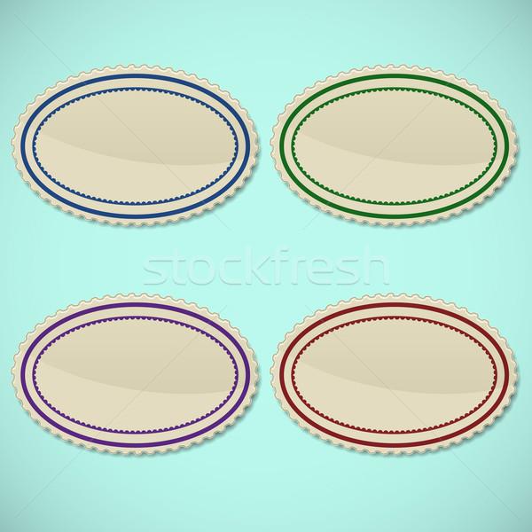 Ayarlamak bağbozumu oval pulları iş kâğıt Stok fotoğraf © punsayaporn