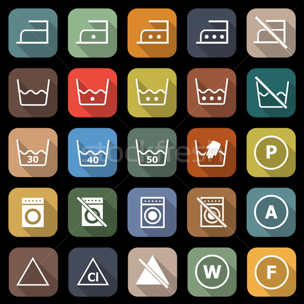 Laundry flat icons with long shadow Stock photo © punsayaporn