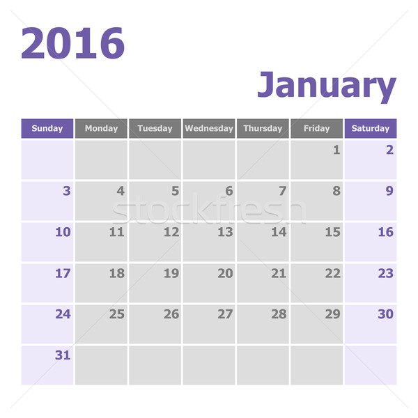 Calendar January 2016 week starts from Sunday Stock photo © punsayaporn