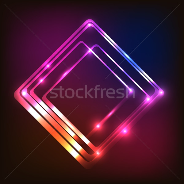 Abstract glowing colorful background with rounded rectangle Stock photo © punsayaporn