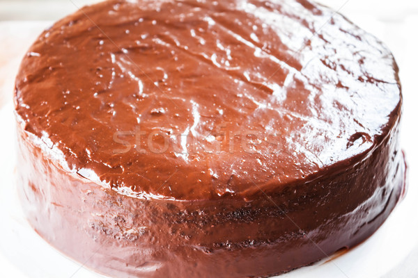 Close up of homemade chiffon chocolate cake Stock photo © punsayaporn