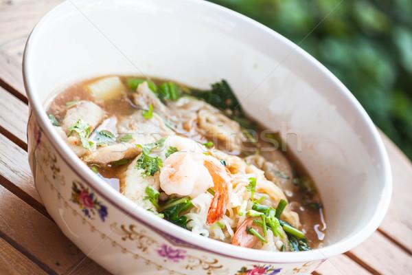 タイ 麺 豚肉 シーフード 辛い スープ ストックフォト © punsayaporn
