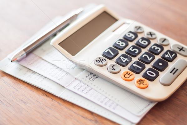 Stockfoto: Calculator · pen · bank · rekening · voorraad · foto