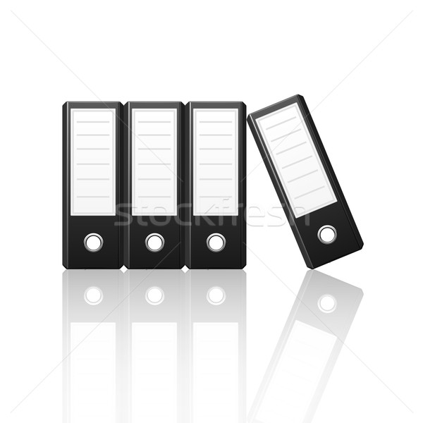 Stock photo: Black binders vertical isolated on white background
