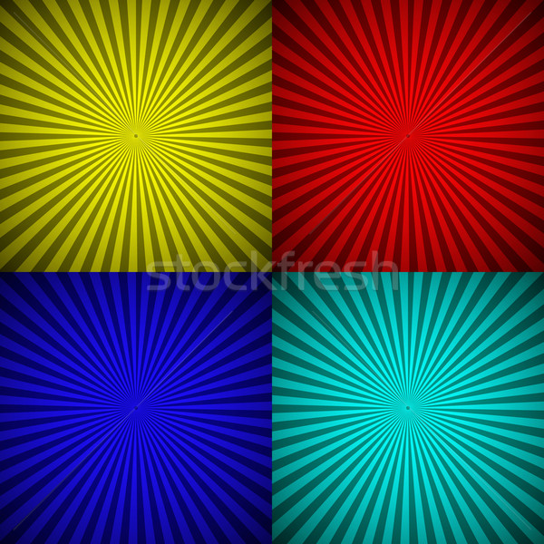 Set of colourful radial rays abstract background Stock photo © punsayaporn