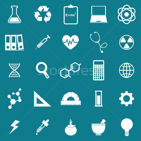 Science icons on blue background Stock photo © punsayaporn