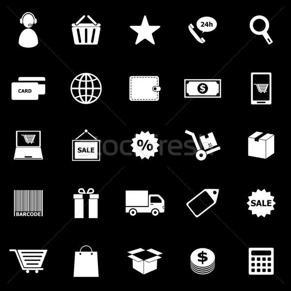 E-commerce icons on black background Stock photo © punsayaporn