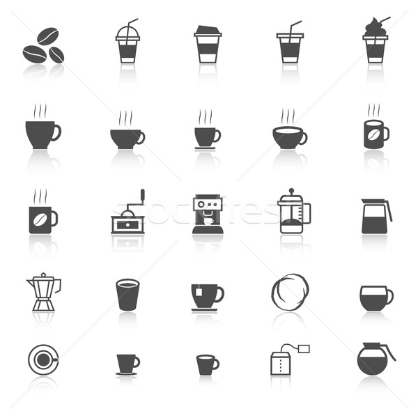 Coffee icons with reflect on white background Stock photo © punsayaporn