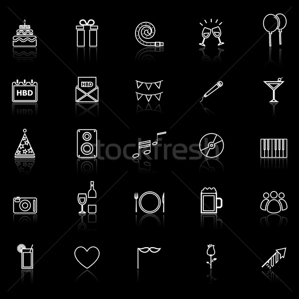 Birthday line icons with reflect on black Stock photo © punsayaporn
