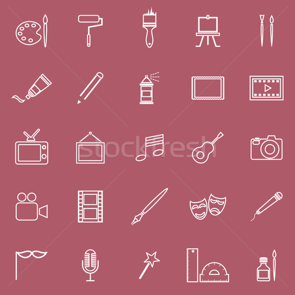 Art line icons on red background Stock photo © punsayaporn