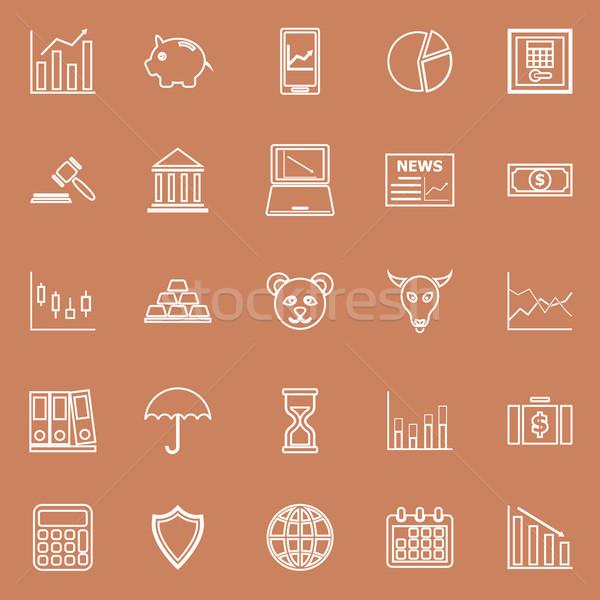 Beurs lijn iconen bruin voorraad vector Stockfoto © punsayaporn