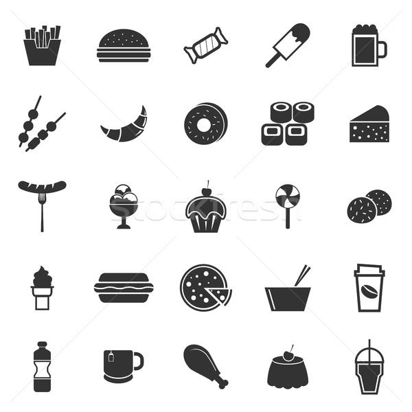 Fast food iconen witte voorraad vector voedsel Stockfoto © punsayaporn