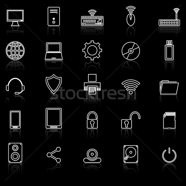 Computer line icons with reflect on black Stock photo © punsayaporn