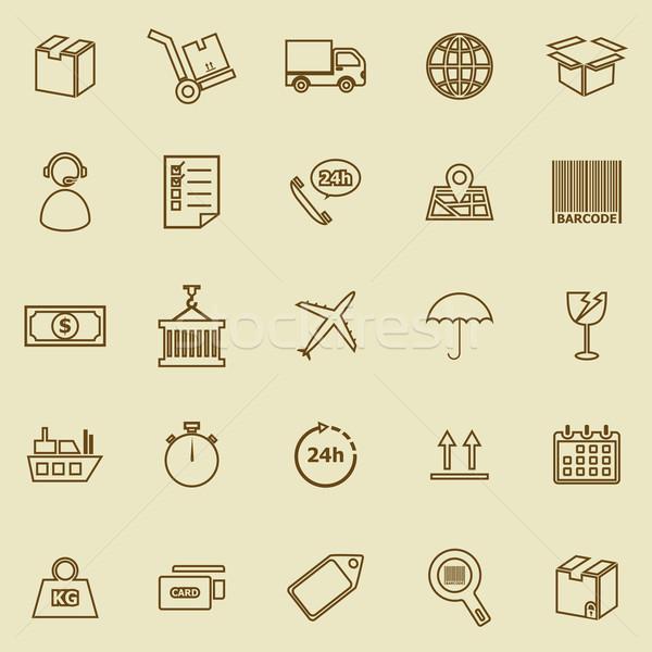 Logistiek lijn iconen bruin voorraad vector Stockfoto © punsayaporn