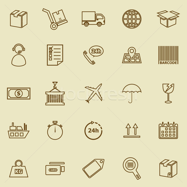 Logistik line Symbole braun hat Vektor Stock foto © punsayaporn