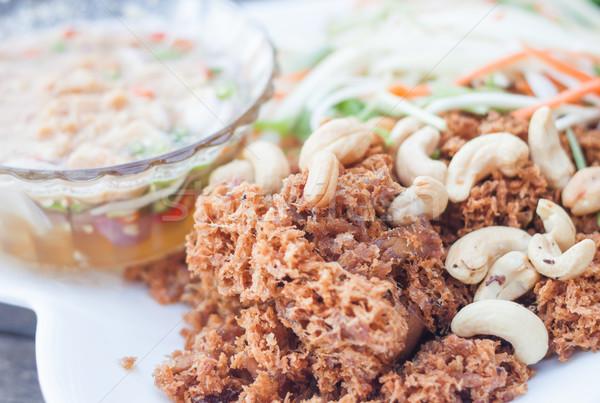 Spicy crispy tuna with green mango salad  Stock photo © punsayaporn