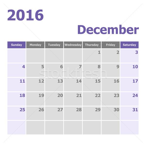 Calendar December 2016 week starts from Sunday Stock photo © punsayaporn