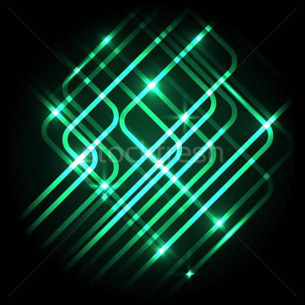 Soyut neon yeşil hatları stok vektör Stok fotoğraf © punsayaporn