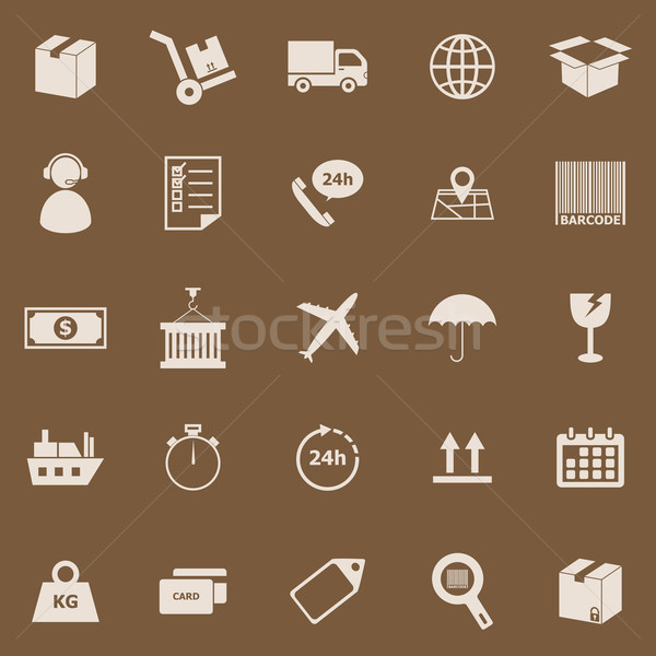 Logistics color icons on brown background Stock photo © punsayaporn