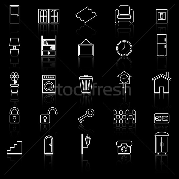House related line icons with reflect on black background Stock photo © punsayaporn