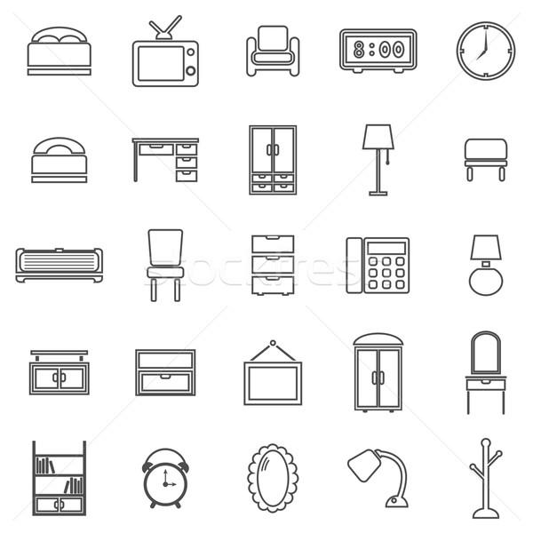 Bedroom line icons on white background Stock photo © punsayaporn