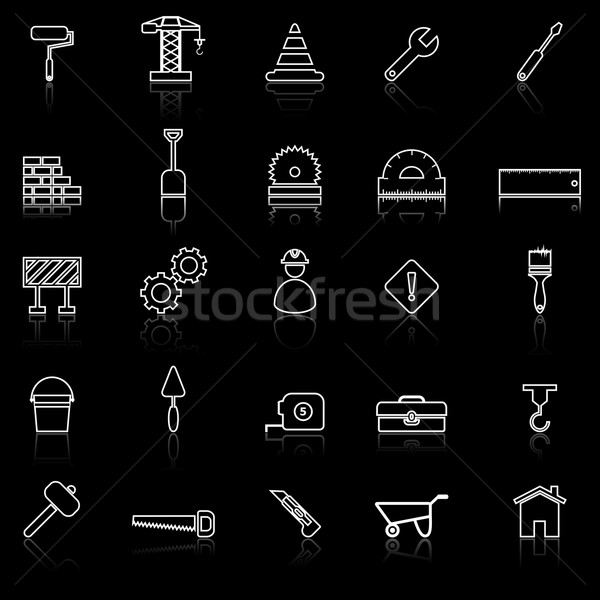 Construction line icons with reflect on black Stock photo © punsayaporn