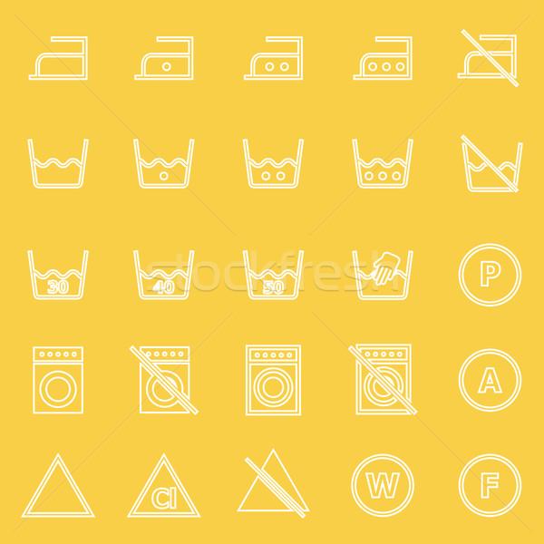 Laundry line icons on yellow background Stock photo © punsayaporn