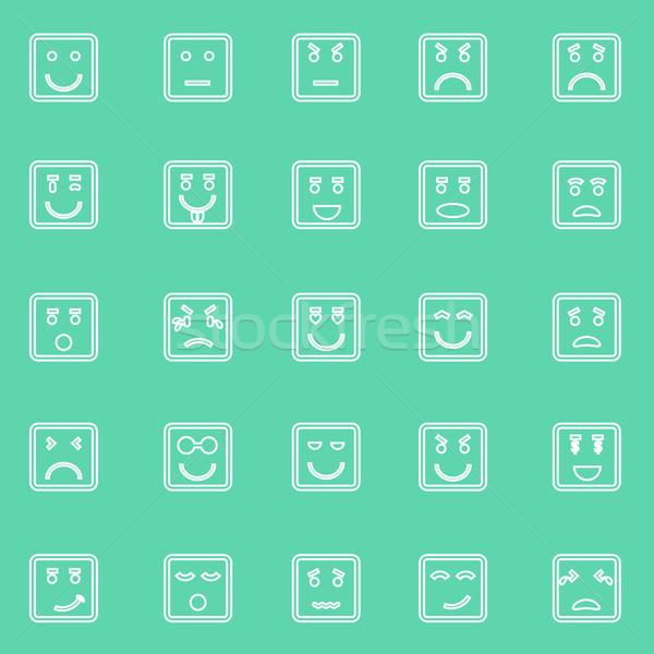 Сток-фото: квадратный · лице · линия · иконки · зеленый · складе
