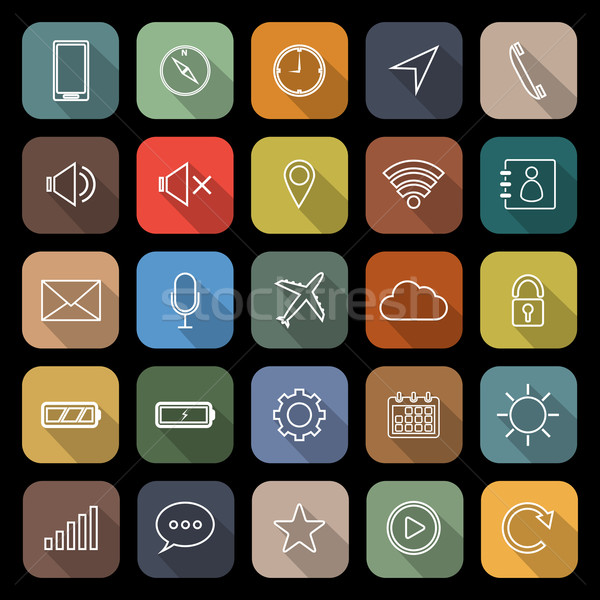 Mobile phone line flat icons with long shadow Stock photo © punsayaporn