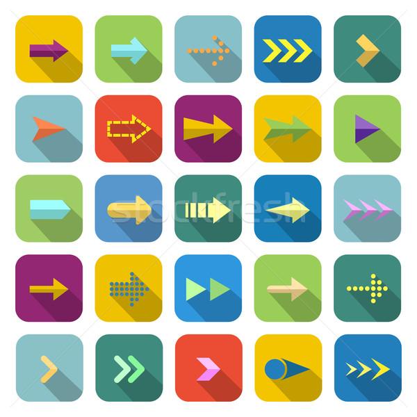 Arrow color icons with long shadow Stock photo © punsayaporn