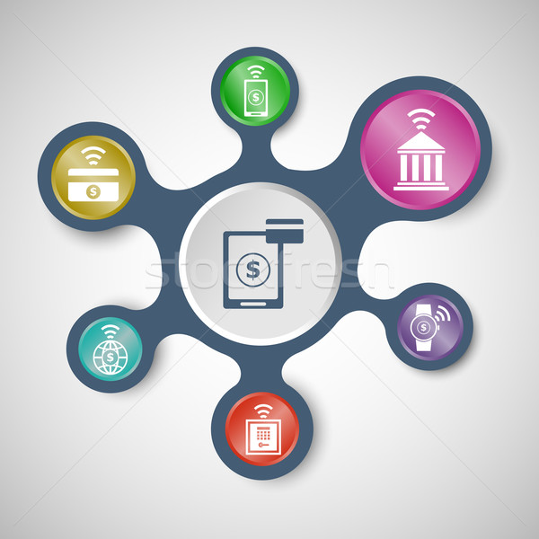 Fintech infographic templates with connected metaballs Stock photo © punsayaporn