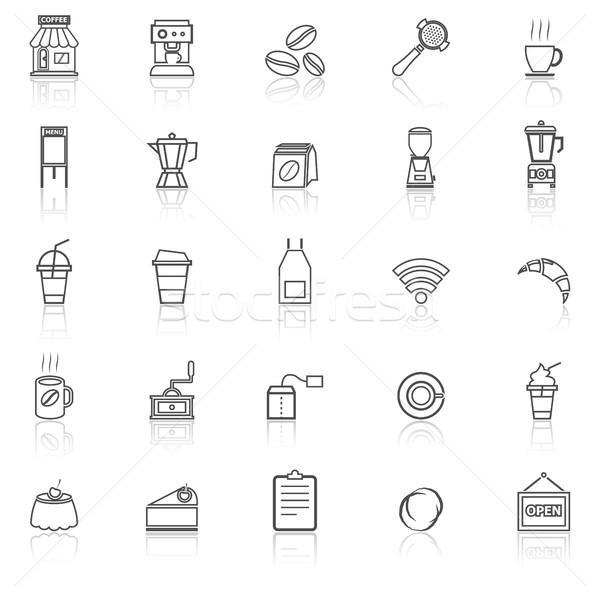 Coffee shop line icons with reflect on white background Stock photo © punsayaporn