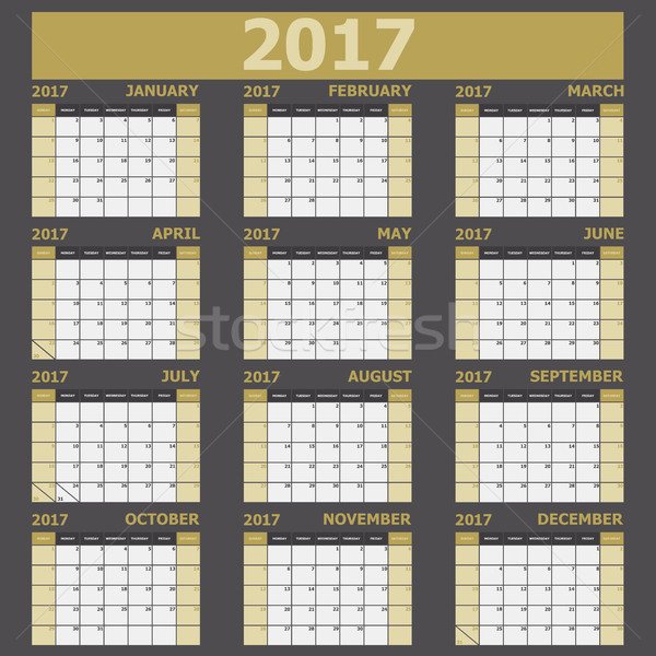 Calendar 2017 week starts on Sunday (yellow tone) Stock photo © punsayaporn