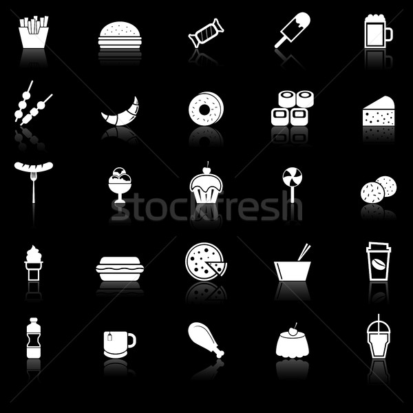 Fast food icons with reflect on black background Stock photo © punsayaporn