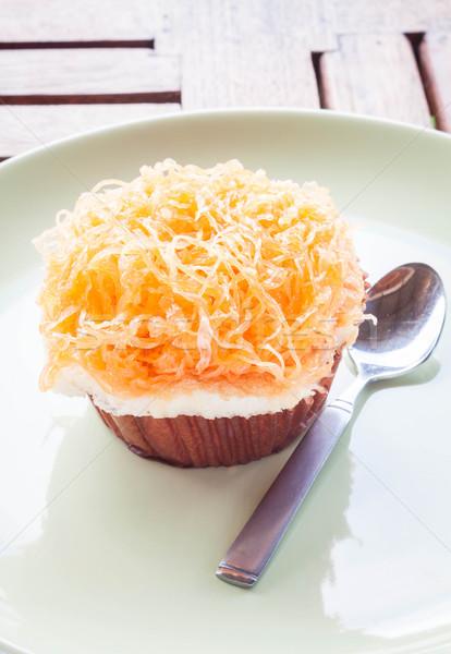 Goud ei eierdooier draad beker cake Stockfoto © punsayaporn