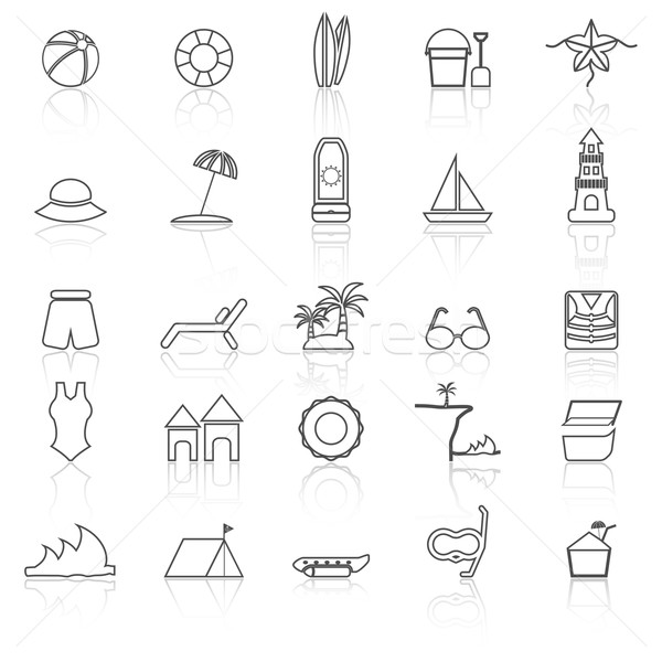 Beach line icons with reflect on white background Stock photo © punsayaporn