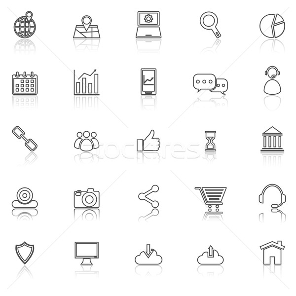SEO line icons with reflect on white Stock photo © punsayaporn