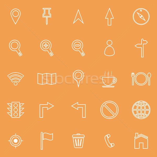 Mapa linha ícones laranja estoque vetor Foto stock © punsayaporn
