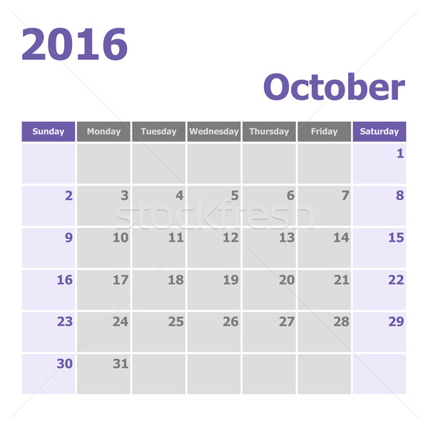 Calendar October 2016 week starts from Sunday Stock photo © punsayaporn