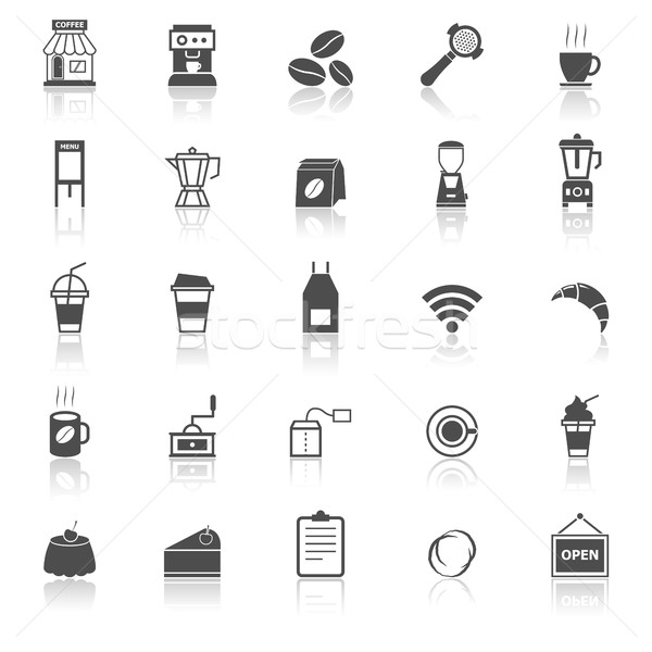 Coffee shop icons with reflect on white background Stock photo © punsayaporn