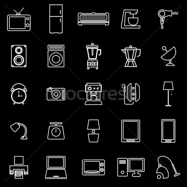 Household line icons on black background Stock photo © punsayaporn