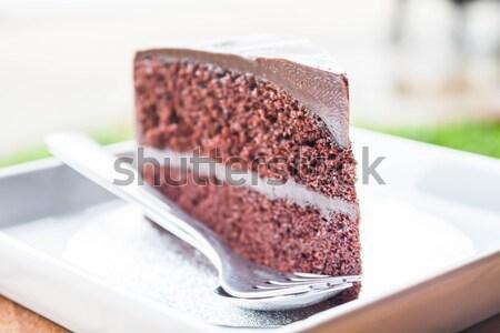 一倍 巧克力 乳蛋糕 蛋糕 層 白 商業照片 © punsayaporn
