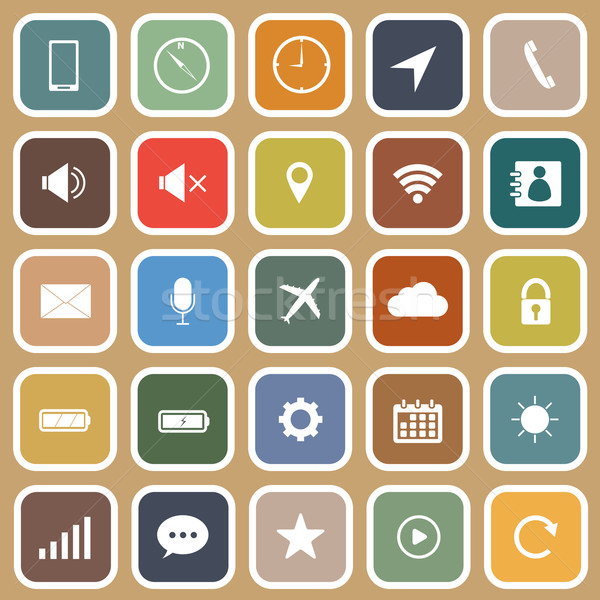 Mobile phone flat icons on brown background Stock photo © punsayaporn