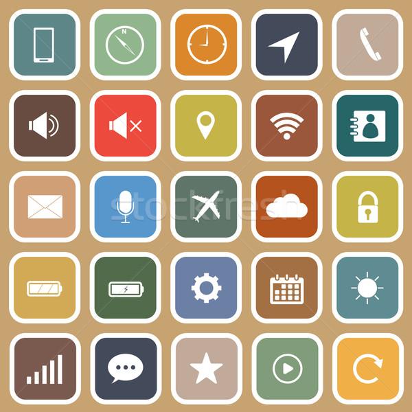 Mobiele telefoon iconen bruin voorraad vector vergadering Stockfoto © punsayaporn