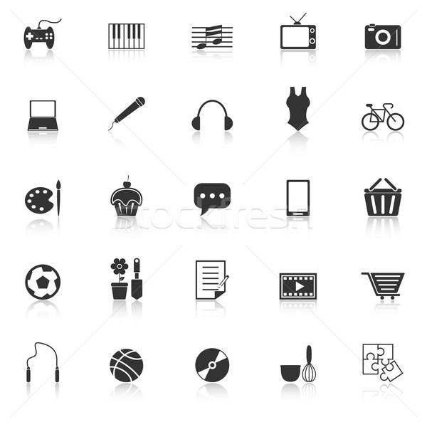 Hobby icons with reflect on white background Stock photo © punsayaporn