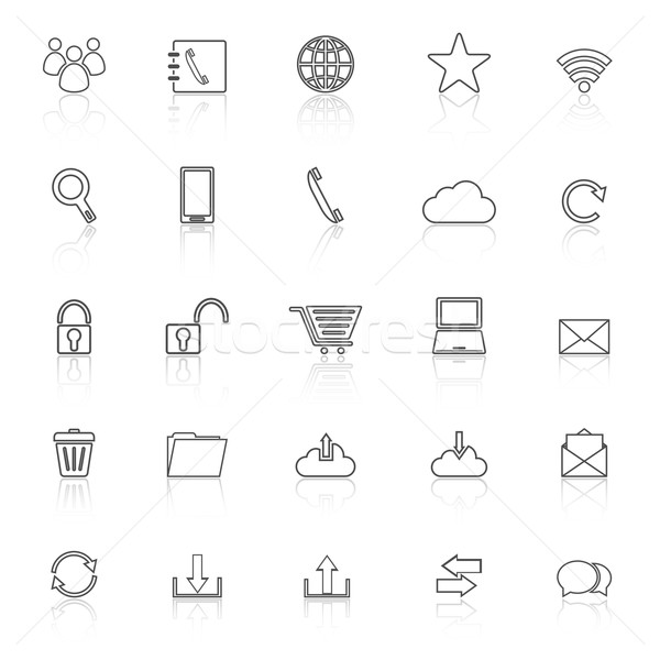 Stock fotó: Kommunikáció · vonal · ikonok · fehér · stock · vektor