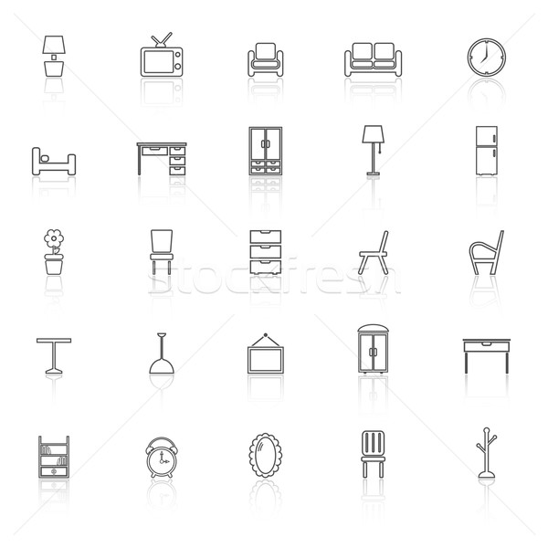 Furniture line icons with reflect on white background Stock photo © punsayaporn